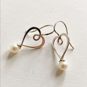 Freshwater Pearl Dangle Earrings Sterling Silver